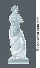 Escultura Venus, diosa del amor. Ilustración aislada plana
