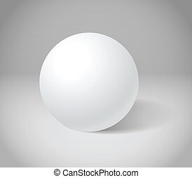 Esfera blanca en escena gris