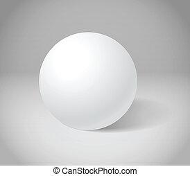 esfera, blanco, escena, gris