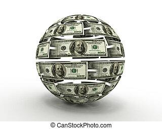 Esfera de dólar a fondo blanco y aislado. 3D