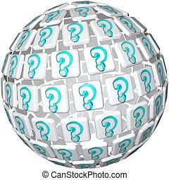 esfera de interrogación - bola de confusión y curiosidad