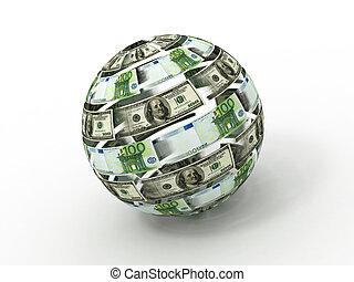 Esfera del dólar y del euro en un fondo blanco y aislado. 3D
