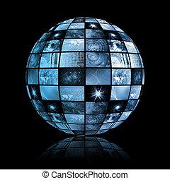 esfera, global, tecnología, mundo, medios