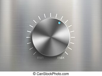 esfera, metal, volumen, control., perilla, sonido, ajustes