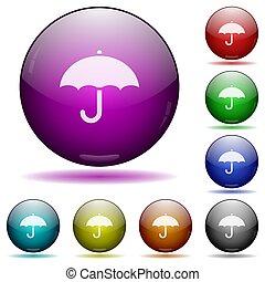 esfera, paraguas, icono, vidrio, botones
