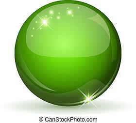 Esfera verde y glososa, aislada en el bosque