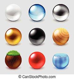 Esferas de diferentes materiales vectores de iconos fijados