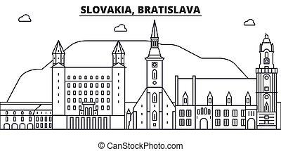 Eslovaquia, línea de arquitectura de Bratislava ilustración en el horizonte. Vector lineal Cityscape con puntos de referencia famosos, vistas de la ciudad, iconos de diseño. Landscape wtih derrames editables