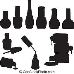 esmalte uñas, conjunto, botellas, vector
