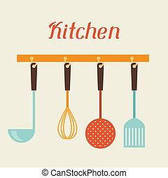 espátula, restaurante, batidor, spoon., utensilios, colador, cocina
