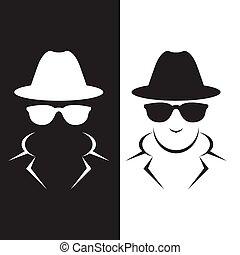 espía, clandestino, agente, o