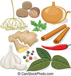 Espías y verduras para cocinar