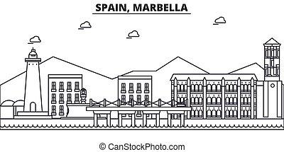 España, la línea de arquitectura de Marbella ilustración en el horizonte. Vector lineal Cityscape con puntos de referencia famosos, vistas de la ciudad, iconos de diseño. Landscape wtih derrames editables