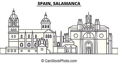 España, la línea de Salamanca en el horizonte ilustración vectorial. España, el paisaje lineal de Salamanca con monumentos famosos, paisajes de la ciudad, paisajes vectoriales.