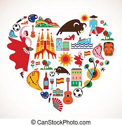 España Love - corazón con conjunto de iconos vectores