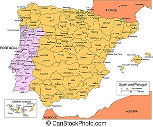 España y Portugal con distritos administrativos y países circundantes