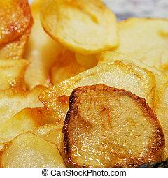 español, fríe, fritas, francés, patatas
