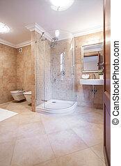 Espacio baño caliente con ducha