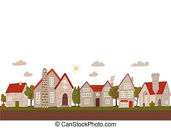 espacio, caricatura, calle., vacío, pueblo, día, pequeño, gris, edificios, vector, text., cómodo, ciudad, plano, illustration.