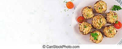 espacio, carne, vista, luz, bandera, copia, disecado, picado, cima, queso, plato., pollo, cocido al horno, hierbas, hongos