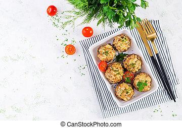 espacio, carne, vista, luz, copia, disecado, picado, cima, queso, plato., pollo, cocido al horno, hierbas, sobre, hongos