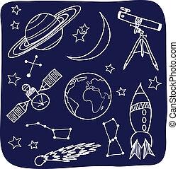 espacio, cielo, -, objetos, noche, astronomía