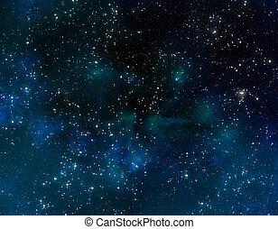 Espacio con nubes de nebulosa azul