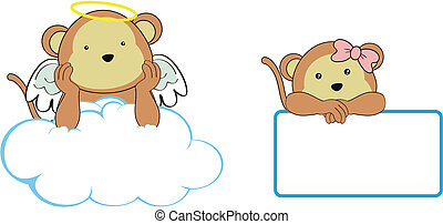 Espacio de dibujos animados del ángel mono