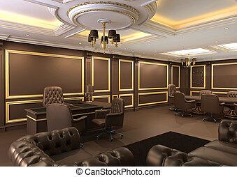 Espacio de oficinas del interior, apartamento real con muebles de lujo