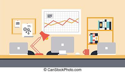 espacio de trabajo, colaboración, oficina, ilustración