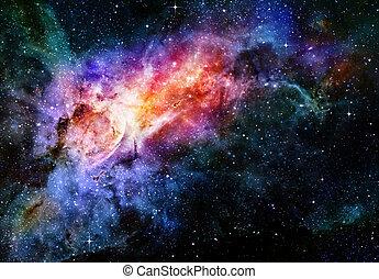 espacio exterior, estrellado, nebulosa, profundo, galaxia