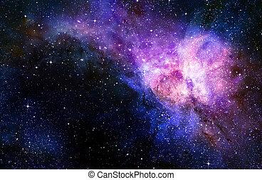 espacio exterior, estrellado, profundo, nebual, galaxia