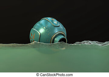 espacio, flotadores, agua, cápsula