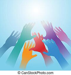 espacio, luz, gente, alcance, brillante, manos, copia, afuera