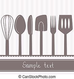 espacio, texto, cubiertos, ilustración, utensilios, cocina