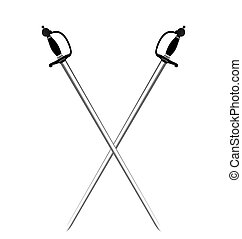espadas, dos, ilustración, plano de fondo, blanco, plata