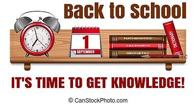espalda, card., tiempo, school., día, conocimiento