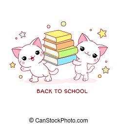 espalda, dos, blanco, gatos, libros, school., lindo, poco