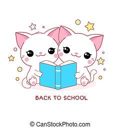 espalda, dos, blanco, poco, gatos, school., lindo, libro