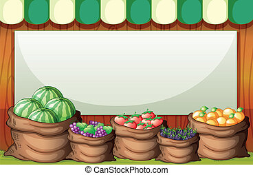 espalda, ilustración, vacío, saco, plantilla, fruits, mercado
