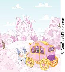 espalda, princesa, reino, carruaje