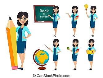 espalda, school., profesor, caricatura, mujer, carácter