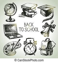 espalda, set., objeto, vector, ilustraciones, mano, dibujado, escuela