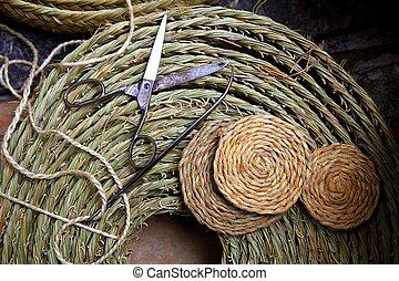 Esparto tejedora artesanías de garabatos, agujas de garabatos de pasto