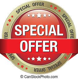 especial, oro, oferta, botón rojo