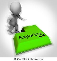 especialista, conocimiento, pericia, pericia, teclado, exposiciones