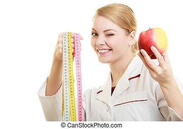 especialista, manzana, doctor, fruta, cinta, tenencia, medida