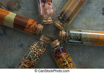 especias, vario, botellas