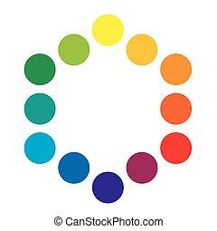 Espectral de policromo espectral de colores del arcoiris de 12 anillos. La paleta colorida espectral del pintor.