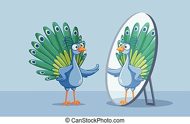 espejo, pavo real, itself, admirativo, hermoso